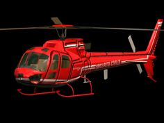 Eurocopter AS350 Ecureuil light utility helicopter 3d model