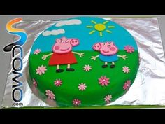 Peppa Pig Birthday Cake: Decorating with fondant Round Birthday Cakes, Peppa Pig Birthday Cake, Birthday Ideas, 2nd Birthday, Round Cakes, Cake Decorating With Fondant, Birthday Cake Decorating, Tortas Peppa Pig, Cake Pops
