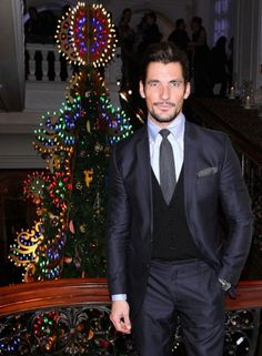 Celebrities attend the unveiling of the Dolce&Gabbana Sicilian Christmas tree in Claridge - David Gandy