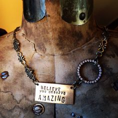 Items similar to BELIEVE You Deserve AMAZING - Your attitude determines your altitude - You are deserving! Hand Stamped Message Necklace by Kris Lanae on Etsy Don't Settle, Inspirational Jewelry, You Deserve, Believe In You, Hand Stamped, Dog Tag Necklace, Attitude, Chain, Amazing