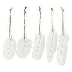 Buy John Lewis Feather Ceramic Hanging Decoration, Assorted Online at johnlewis.com
