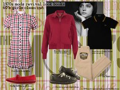 1970s mod revival youth culture and fashion look books. Girls casual style
