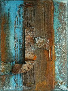 """past`s pieces ll"" - rust, pigment, scrap on canvas"