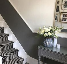 Ideas Stairs Painted Grey Hallways For 2019 halls hallway ideas ideas small ideas entrance ideas paint hallway ideas Hallway Paint, Grey Hallway, Hallway Flooring, Dado Rail Hallway, Upstairs Hallway, Diy Furniture Videos, Diy Furniture Table, Hall Furniture, Furniture Movers
