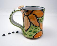 Ceramic Coffee Mug Clay Pottery Cup Orange by ClayLickCreekPottery, $25.00