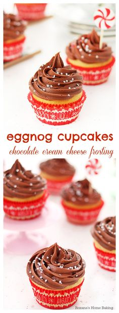 Flavorful eggnog cupcakes topped with velvety chocolate cream cheese frosting - simple & cute!