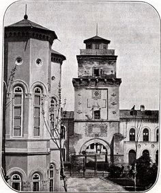 """Turnul Colței, demolat in Sursa: """"Bucureștii lui Carol I"""", Editura… Capital Of Romania, Little Paris, Bucharest Romania, My Town, Old City, Beautiful Buildings, World War Two, Old Pictures, Prague"""