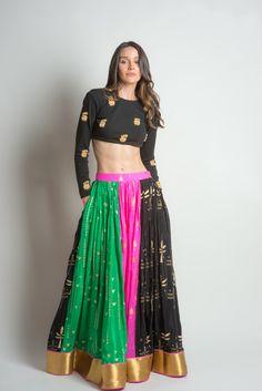 House of Masaba Patchwork Lehenga Garba Dress, Navratri Dress, Lehnga Dress, Sangeet Outfit, Choli Designs, Lehenga Designs, Blouse Designs, Rajasthani Lehenga, Indian Bridal Lehenga