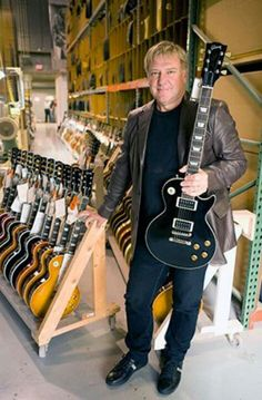Alex Lifeson and an amazing assortment of Gibson Les Pauls