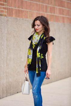 black ruffle top & lemons scarf // LipglossandLabels.com