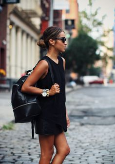Leather skirt: Primary Blouse: Zara Backpack: 3.1 Phillip Lim Sunglasses: Karen Walker