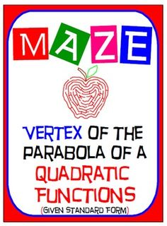 Maze - Quadratic Functions - Find the Vertex (Given the St