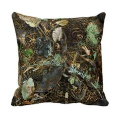 Beau Nature Camouflage Throw Pillow. ~ #home #decor #camo #decorate #nature #men  #hunting #outdoor #outdoors #living #couch #sofa #bed