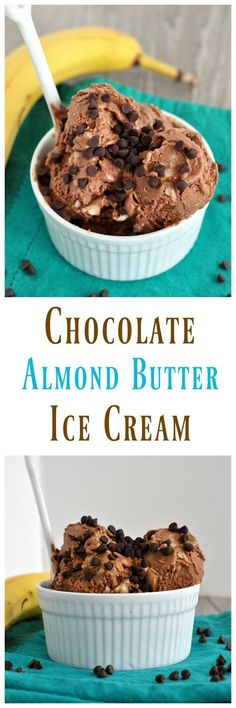 This Chocolate Almond Butter Ice Cream is a healthy ice cream you can feel good about eating! Zero added sugar and perfect for summer! Vegan and gluten free