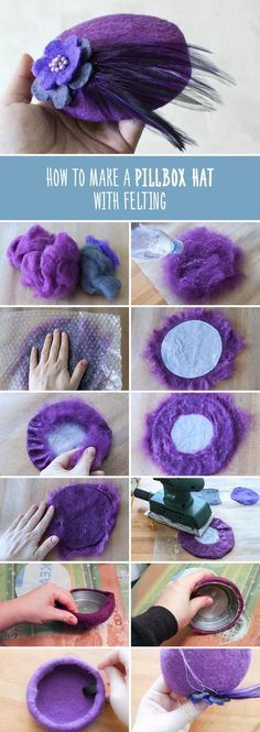 How to make a pillbox hat with felting | Валяем шляпку-таблетку