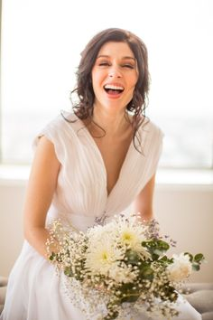 Always love to see a girl laugh out loud. Laid Back Wedding, Bridal Stores, Wedding Portraits, Luxury Wedding, Event Design, Color Pop, One Shoulder Wedding Dress, Brides, Hair Makeup