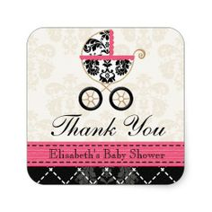 HOT PINK and Black Damask Baby Carriage Thank You Square Sticker #baby shower, #party favors, #twins, #shower favors, #birth announcements, #baby boy, #baby girl, #cheap, #inexpensive, #personalized, #shower party favors, #unique, #favor ideas, #favor, #favour, #babies, #infant, #timelesstreasure
