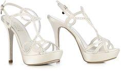 White satin Jewel #sandal with #Swarovsky Elements