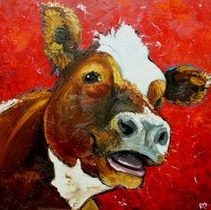 Print Cow 454 10x10 inch Print from oil painting by Roz. $24.00, via Etsy. Freaking ADORABLE!!!