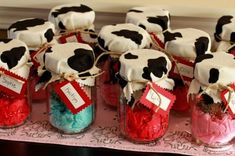 Mason jars go hand in hand with the barnyard birthday party theme.  See more farm and birthday parties for kids on www.one-stop-party-ideas.com