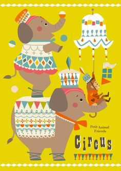 ❤ Circus Illustration, Graphic Illustration, Painting For Kids, Drawing For Kids, Circus Art, Elephant Art, Cute Images, Cute Characters, Baby Prints