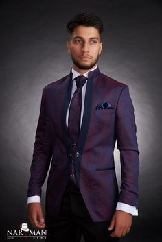 1 new message Mandarin Collar, Wedding Suits, Tuxedo, Mens Suits, Men's Shoes, Burgundy, Suit Jacket, Menswear, Mens Fashion