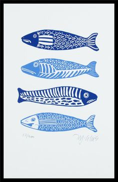 Linocut Blues fish handprinted and signed in a limited Cool Diy Projects, Art Projects, Chalk Drawings, Fish Print, Fish Design, Encaustic Painting, Linocut Prints, Diy Wall Art, Art Lessons