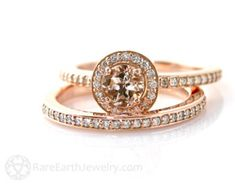 Floral Morganite Engagement Ring in 14k Rose Gold by LaMoreDesign