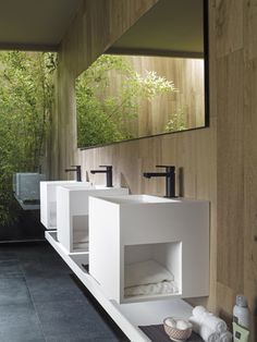 Clean & Pure designs thanks to KRION Solid Surface for new washbasins and bathroom units of Ras collection #Bathrooms #Porcelanosa