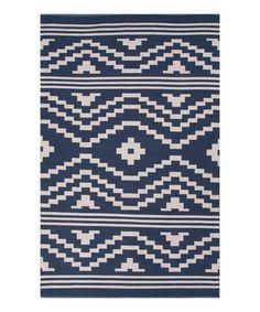 Another great find on #zulily! Navy & White Modern Tribal Cotton Rug #zulilyfinds