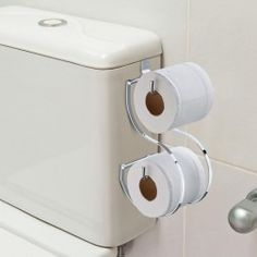 Suporte de Papel Higienico para Caixa de Bacia Duplo em Aço Cromado - 5 Anos de Garantia