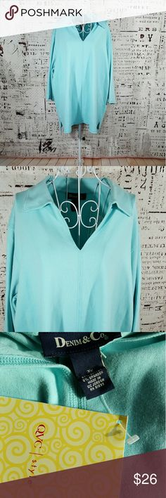 "Denim & Co. Light blue warm and comfy pull over top. NWT. 28"" across and 30"" long. Check out bundled pricing Denim & Co. Tops"