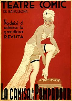 A theatre vintage posters image showing barcelona comic theatre.