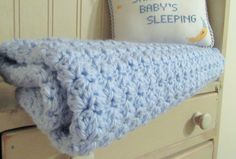 Crochet Baby Blanket/Blue Baby Blanket/Stroller by TheComfyBaby
