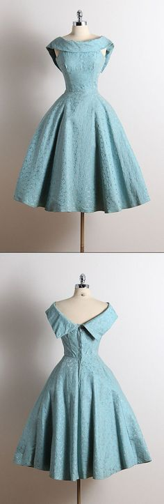 short bateau a-line party dresses, short prom dresses, baby blue vintage homecoming dresses
