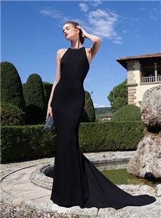 Sexy Black Halter Neckline Mermaid Beading Floor Length Evening Dress for U.