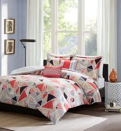 Mackenzie in Taupe, Grey, Black, Red, and Pink Comforter Sets by Intelligent Design