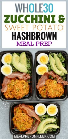 Zucchini & Sweet Potato Hashbrown Meal Prep - This Zucchini & Sweet Potato Hashbrown meal prep is a delicious and healthy alternative to fried hashbrowns. Sweet potatoes and zucchini are swapped in for the traditional white potato adding a Fall Dinner Recipes, Beef Recipes For Dinner, Whole 30 Recipes, Lunch Recipes, Breakfast Recipes, Healthy Recipes, Paleo Breakfast, Breakfast Frittata, Paleo Food