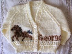 Personalized Gift ANY NAME Color & Size Hand Knitted Baby Girl Boy Cardigan Jumper Sweater Horse Embroidery