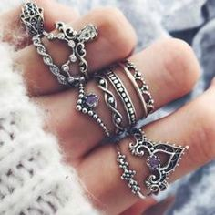 10 Pcs/Set Women Bohemian Gemstone Fatima Hand Crown Hollow Caved Geometric Diamond Joint Knuckle Rings