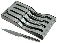 Global GSF-4023 - 4 Piece Steak Knife Set by Global. $219.95. High carbon stainless steel. Lightweight in your hand. razor sharp, straight edge that stays sharper longer