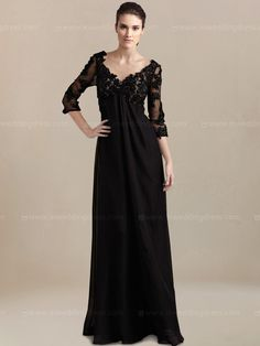 Casual Chiffon mother of the bride dress features a beaded Lace appliqued bodice with V-neck and V-back. This amazing mother's dress has 3/4 length illusion sleeves and an empire waistline, which is ideal for plus sized mums. Dreams do come true and this gown will definitely make it happen. Available in 60 colors, shown in Black.