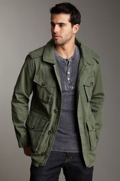 Men's Dark Green Military Jacket, White Dress Shirt, Tobacco ...
