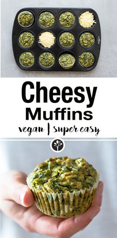 Vegane und super cheesy Kichererbsen und Spinat Muffins - mit veganem Schmelzkäse. Das ganze Rezept auf eat-vegan.de // #vegan #muffins #spinat #kichererbsen #chickpeas #cheese #vegancheese
