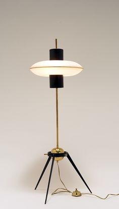 Anonymous; Brass, Glass and Enameled Metal Floor Lamp, 1950s.
