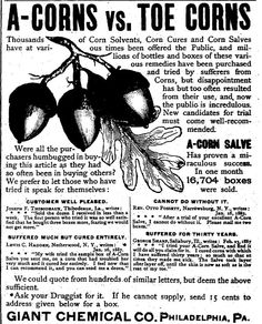 A-Corns vs. Toe Corns - an ad from a December 1888 issue of The Christian Recorder.
