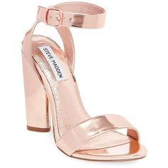 Steve Madden Women's Treasure Leather Dress Sandals ($31) ❤ liked on Polyvore featuring shoes, sandals, rose gold, ankle wrap sandals, dress sandals, block heel shoes, high heel shoes and open toe sandals