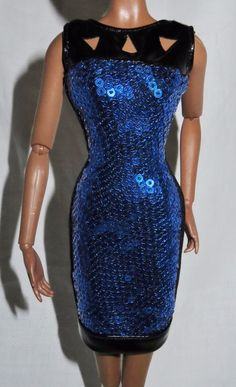 DRESS ONLY ~ BARBIE DOLL MODEL MUSE NIGHT OUT LOOK BLUE SEQUIN COCKTAIL GOWN