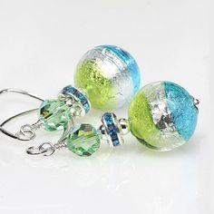 Venetian Murano Glass Earrings, Aqua, Peridot, Sterling Silver, Artisan, Lampwork Earrings, Dangle, Drop Earrings, Elandra Designs