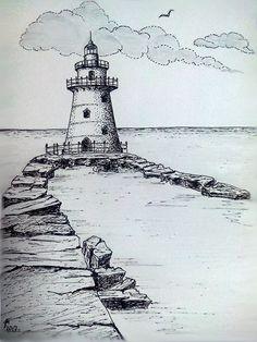 landscape sketch Old Breakwater Landscape Pencil Drawings, Landscape Sketch, Pencil Art Drawings, Art Drawings Sketches, Lighthouse Drawing, Lighthouse Art, Arte Sketchbook, Urban Sketching, Pen Art